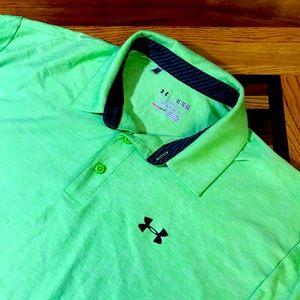 Under Armour men's XL lime green polo shirt EUC